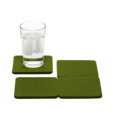 Bierfilzl Square Felt Coasters, Loden Green Set