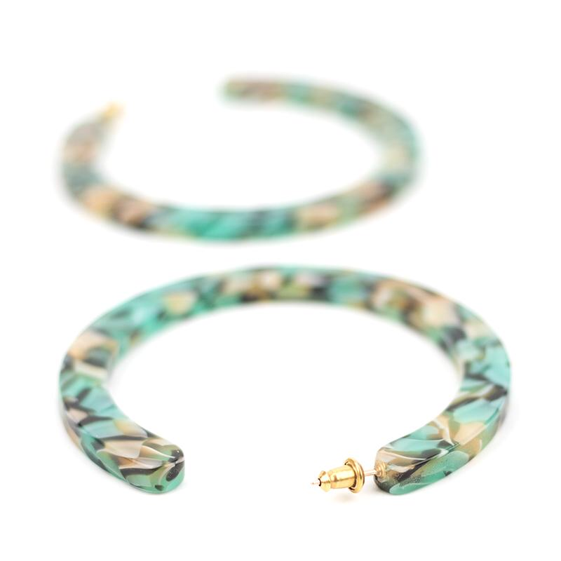 Teal Confetti Large Slice Hoops