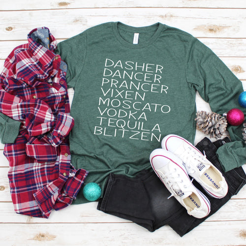 Boozy Reindeer Long Sleeve T-Shirt - Southern Ivy Boutique