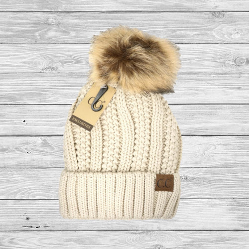 Let It Snow C.C. Beanie w/ Fur Pom & Fleece Lining - Southern Ivy Boutique