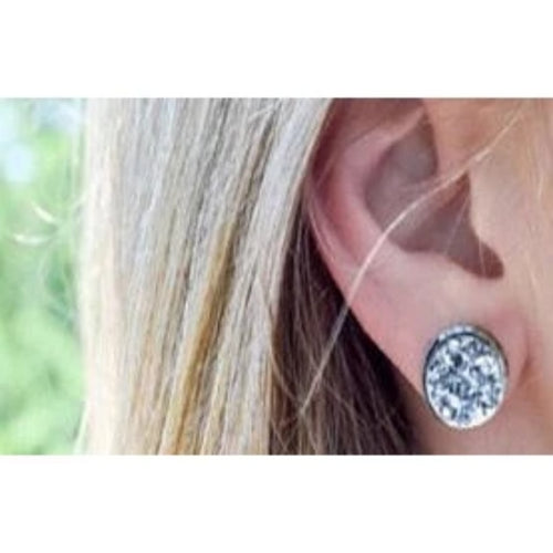 Dark Blue & Silver Post Druzy Earring-Southern Ivy Boutique
