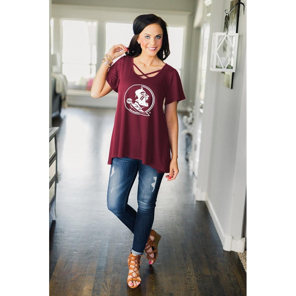 Gameday Couture Cross My Heart Top - Florida State - Southern Ivy Boutique