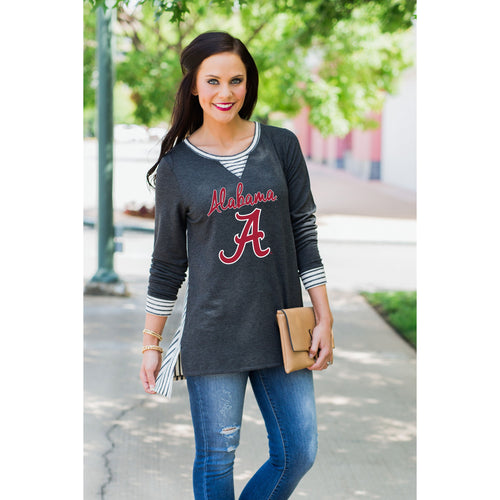 Gameday Couture You'll Be Back Striped Tunic - Alabama-Southern Ivy Boutique