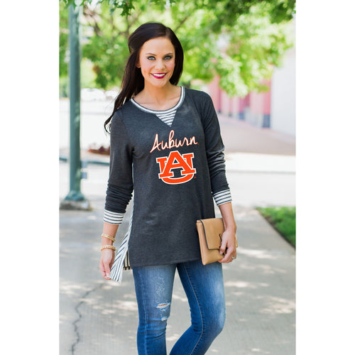 You'll Be Back Striped Tunic - Auburn-Southern Ivy Boutique