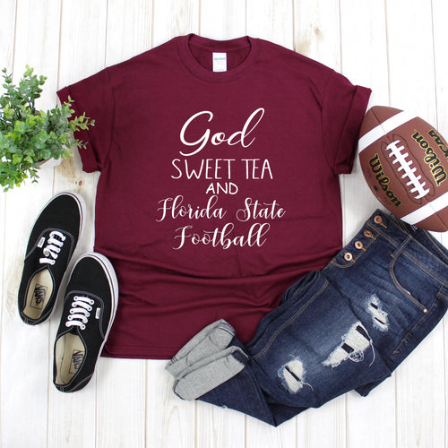 God, Sweet Tea & Florida State Football Gameday T-Shirt - Southern Ivy Boutique