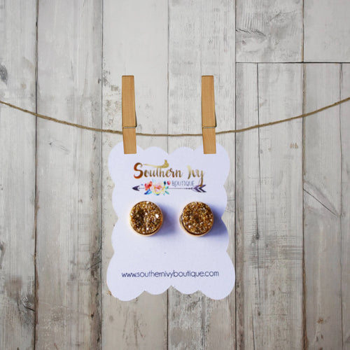 Gold & Gold Post Druzy Earring - Southern Ivy Boutique