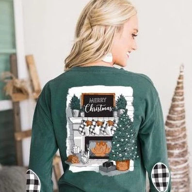 Gameday Couture I'll Be Home Holiday Elbow Patch Shirt - Southern Ivy Boutique