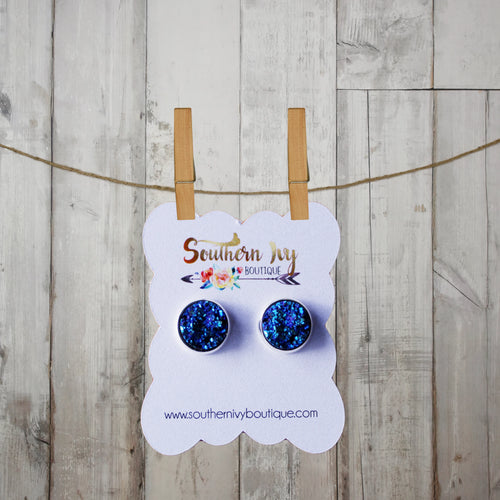 Mermaid Blue & Silver Post Druzy Earring - Southern Ivy Boutique