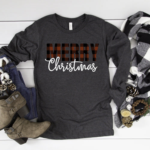 Merry Christmas Buffalo Plaid T-Shirt - Southern Ivy Boutique