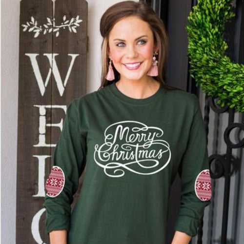 Gameday Couture Have A Merry Christmas Elbow Patch Shirt - Southern Ivy Boutique