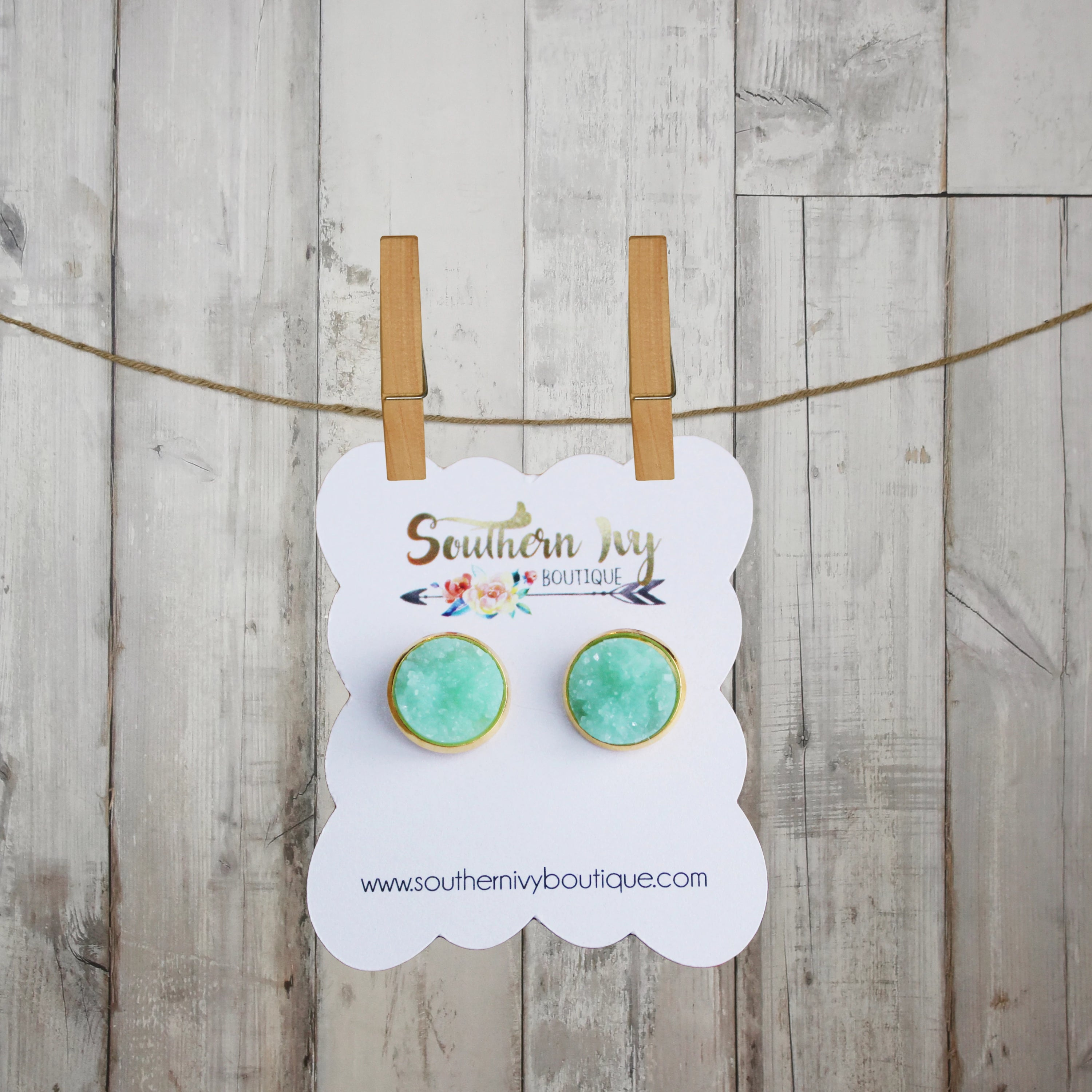 Mint & Gold Post Druzy Earring - Southern Ivy Boutique
