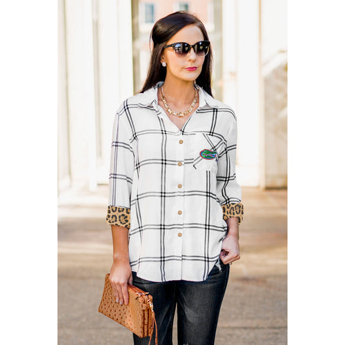 Gameday Couture Wild About Plaid Top - UF - Southern Ivy Boutique