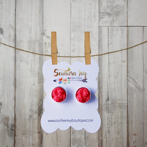 Red & Silver Post Druzy Earring - Southern Ivy Boutique