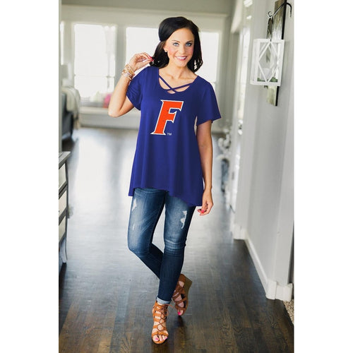 Gameday Couture Cross My Heart Top - Florida-Southern Ivy Boutique