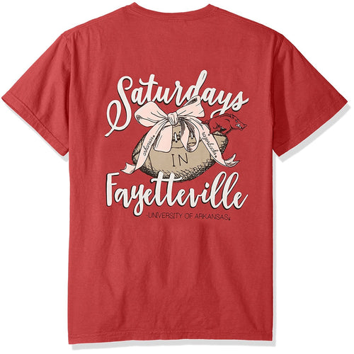Laces and Bows Collegiate T-Shirt - Arkansas-Southern Ivy Boutique