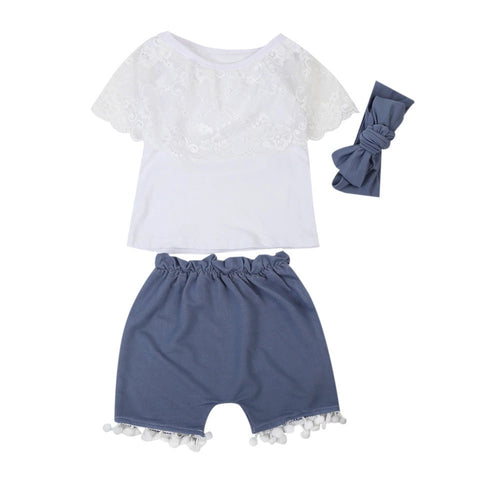 White Tassel Blue Short Set