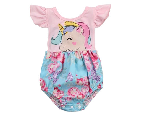 Floral unicorn one piece Romper