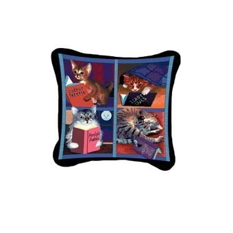 Cats with Books Pillow