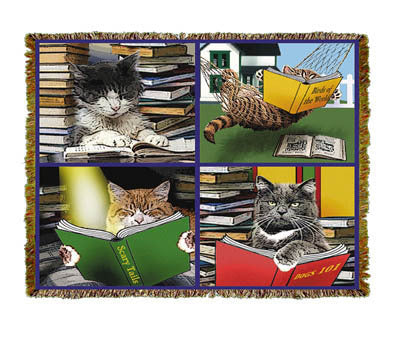 Cats Reading Coverlet