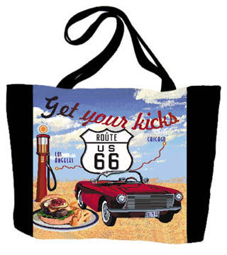 Route 66 Blue Tote Bag