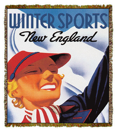 Travel Poster Winter Sports New England Coverlet