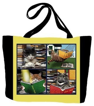 Cats Reading Tote Bag