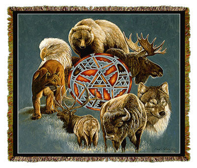 Native American Animal Spirit Circle Coverlet