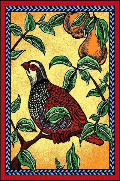 Holiday Partridge Mini Coverlet
