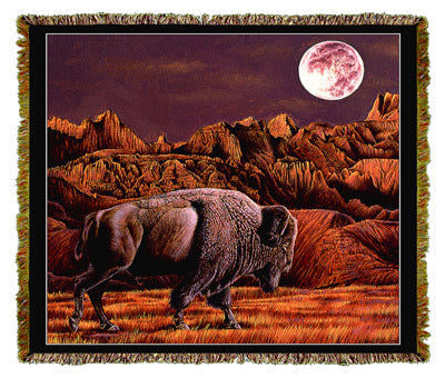 Native American Buffalo Moon Rising Coverlet