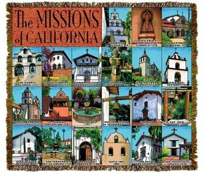 California Missions Throw Blanket