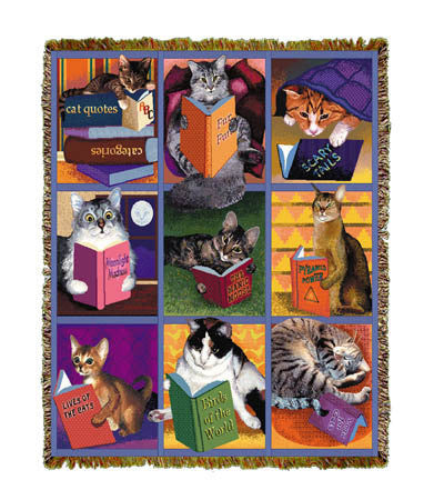 Cats With Books Throw Blanket