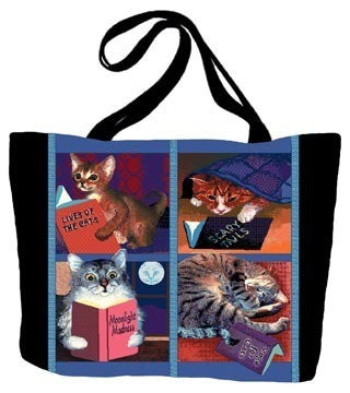 Cats With Books Tote Bag