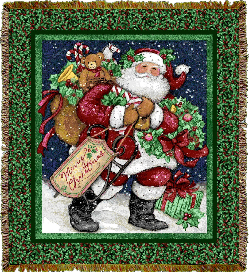 Santa with Gifts Throw Blanket