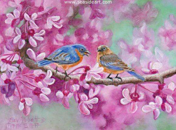 Red Bud and Blue Birds is a miniature oil painting by Beverly Abbott