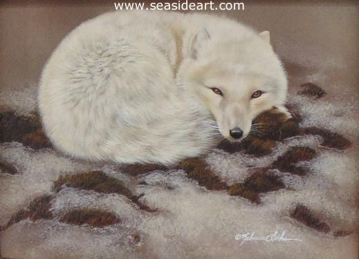 Arctic Nap is a watercolor painting of an Arctic Fox by Rebecca Latham