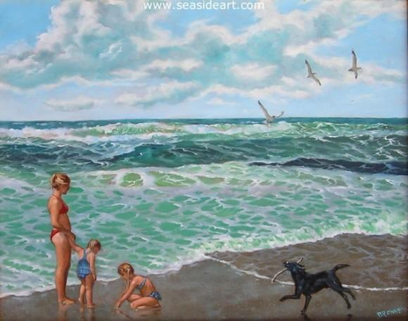 Barfey and the Girls is an original oil painting by the artist, Bob Browne