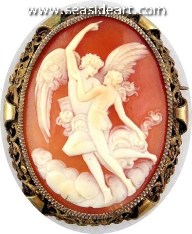 Vintage Lady's Shell Cameo Brooch/Pendant, Eros & Psyche