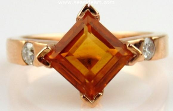 14kt Rose Gold ring with Citrine and Diamonds