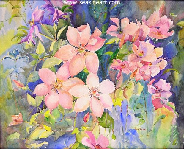 Clematis is an original watercolor painting by Sun Bauer