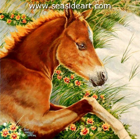 Corolla Foal in a Bed of Blanket Flowers is an original oil painting on canvas by Laurie Waterfield