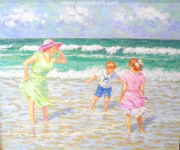 Playing by the Shore is an original oil painting on canvas by Karin Schaefers created in the impressionistic style.