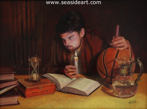 The Scholar is an original oil painting by Debra Keirce.