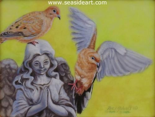 On a Wing and A Prayer is a miniature oil painting on ivorine by artist, Beverly Abbott