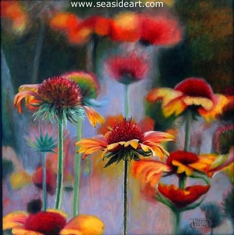 Beach Flowers is an original oil painting by award winning artist, Debra Keirce