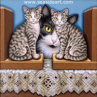 Between the Bookends is an acrylic painting by Sue Wall. This is of two cats as bookends and one cat peeking between them.