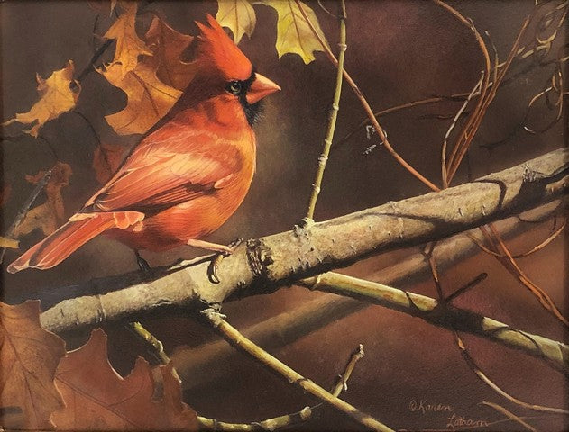 Red and Vines is an original watercolor painting by the award winning artist, Karen Latham. The original art is of a cardinal.