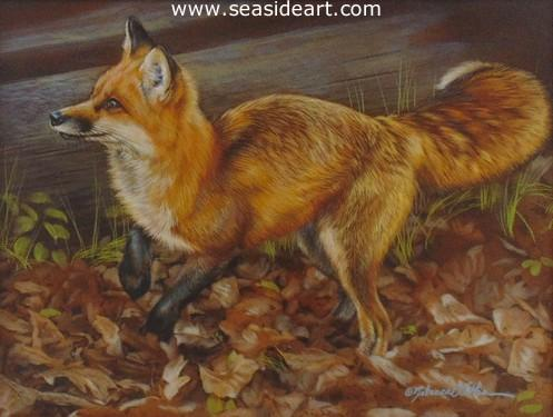 Dashing is a watercolor painting of a red fox by the artist, Rebecca Latham