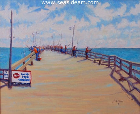 Fish On is an oil painting of the Nags Head Fishing Pier by Outer Banks artist, Suzanne Morris