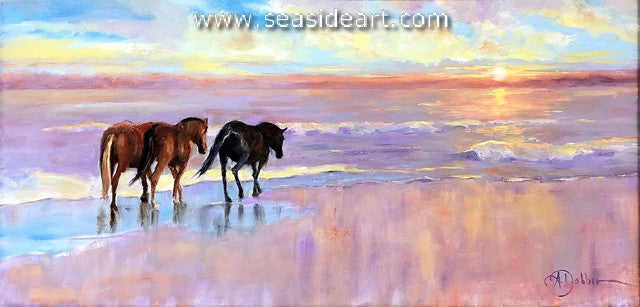 Follow the Sun is an original oil painting of the wild horses on the Outer Banks beach by artist, Alice Ann Dobbin.