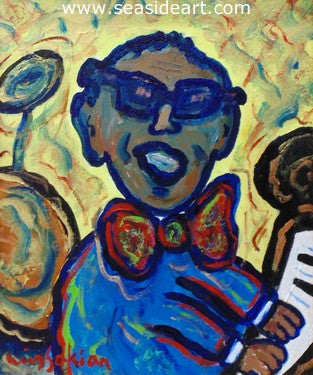 Homage to Ray Charles is an acrylic painting by Berge Missakian